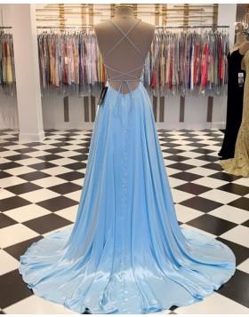 Simple Light Blue Spaghetti Straps Satin A-line Prom Dress PM1807