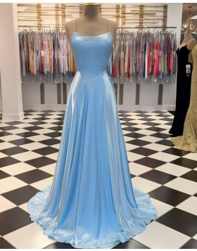 Simple Light Blue Spaghetti Straps Satin A-line Prom Dress PM1807