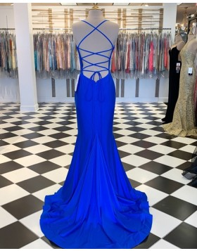Spaghetti Straps Blue Satin Mermaid Prom Dress PM1809