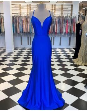 Spaghetti Straps Blue Satin Mermaid Prom Dress PM1809