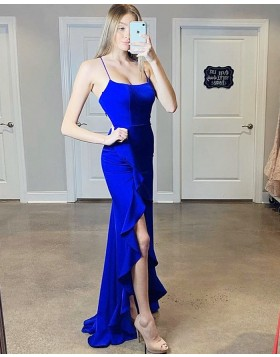 Spaghetti Straps Royal Blue Mermaid Prom Dress with Slit PM1811