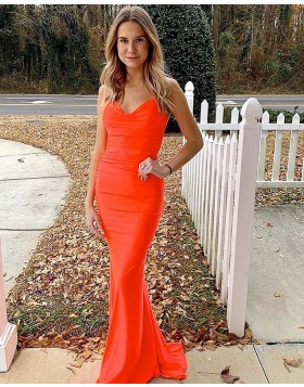 Simple Spaghetti Straps Orange Satin Mermaid Prom Dress PM1812