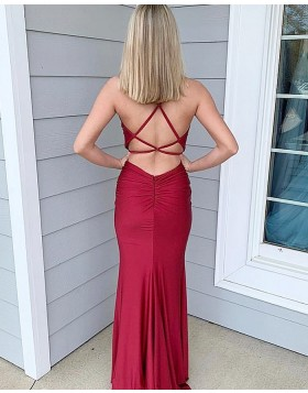 Simple Burgundy Spaghetti Straps Satin Mermaid Prom Dress PM1813