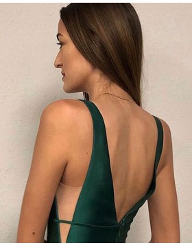 Simple V-neck Green Satin Prom Dress with Pockets PM1815