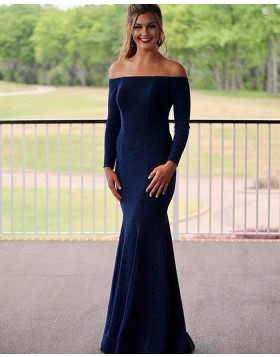 Off the Shoulder Simple Navy Blue Mermaid Prom Dress with Long Sleeves PM1819