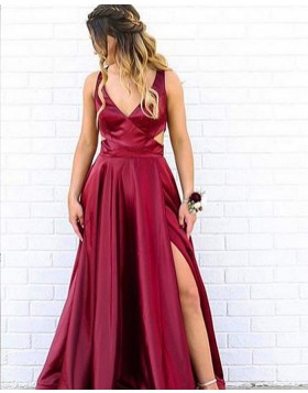 Simple V-neck Cutout Burgundy Satin Prom Dress with Side Slit PM1823