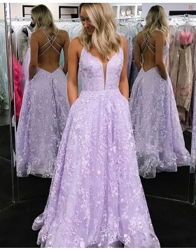 Lavender V-neck Lace Prom Dress with Pocket PM1824