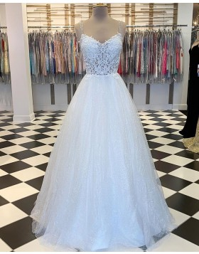 Spaghetti Straps Lace Bodice White Prom Dress with Sparkle Skirt PM1827