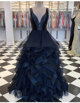 V-neck Black Polka Dots Tulle Ruffled Prom Dress PM1828