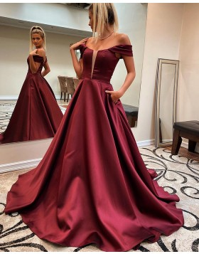 V-neck Burgundy Satin A-line Prom Dress with Pockets PM1829