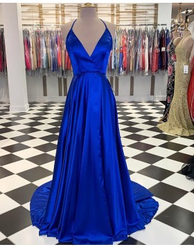 Simple Halter Blue Satin A-line Long Prom Dress with Slit PM1830