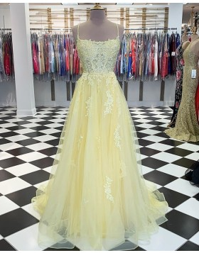 Spaghetti Strap Light Yellow Appliqued Tulle Prom Dress PM1832