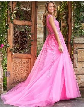 Jewel Neck Blush Pink Lace Appliqued A-line Prom Dress PM1834