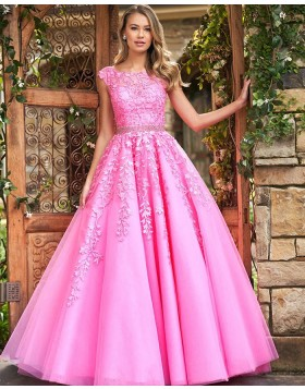 Jewel Neck Blush Pink Lace Appliqued A-line Prom Dress PM1834