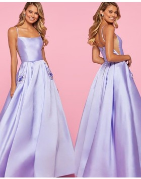 Spaghetti Strap Lavender Satin Prom Dress with Beading Pockets PM1835