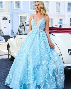 Spaghetti Straps Beading Lace Cyan Ball Gown Prom Dress PM1837