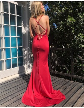 Simple Red Spaghetti Strap Mermaid Prom Dress PM1838