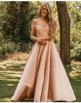 V-neck Nude Lace Bodice Satin Prom Dress PM1839