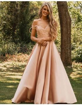 V-neck Nude Lace Bodice Satin Prom Dress PM1839