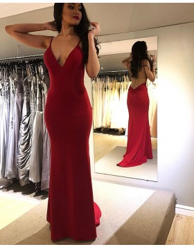 Simple Spaghetti Straps Red Mermaid Prom Dress PM1841