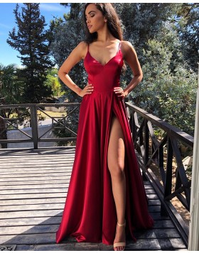 Simple Spaghetti Straps Red Pleated Prom Dress with Side Slit PM1843