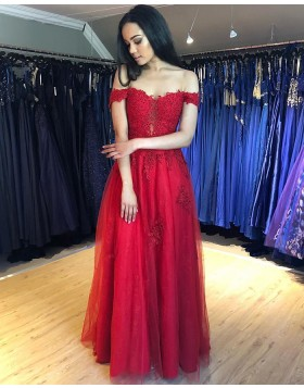 Off the Shoulder Lace Appliqued Red Prom Dress PM1844
