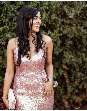 Spaghetti Straps Rose Gold Sequin Mermaid Prom Dress PM1845