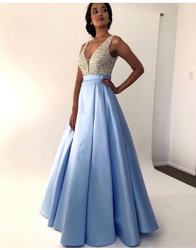 V-neck Beading Bodice Sky Blue Pleated Prom Dress PM1846