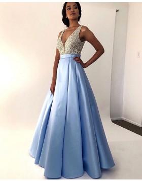 V-neck Beading Bodice Sky Blue Pleated Prom Dress PM1846