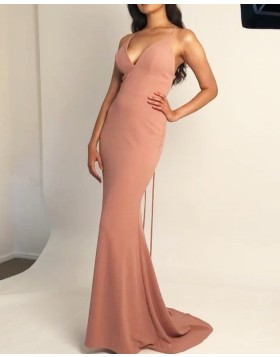 Simple Spaghetti Straps Nude Satin Mermaid Prom Dress PM1848