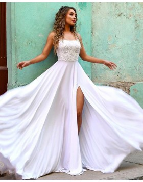 Spaghetti Strap White Lace Bodice Chiffon Prom Dress with Side Slit PM1854