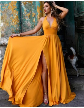 Simple Halter Daffodil Ruched Satin Prom Dress with Side Slit PM1856