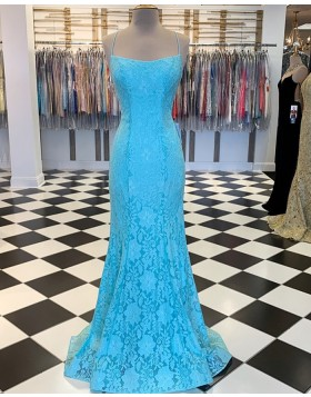 Spaghetti Strap Cyan Lace Mermaid Prom Dress PM1857