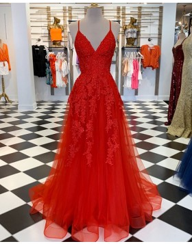 Spaghetti Straps Lace Appliqued Red Tulle Prom Dress PM1860