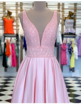Deep V-neck Pink Beading Bodice Satin Pleated Prom Dress PM1861