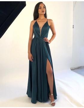 Deep V-neck Ruched Dark Green Satin Prom Dress with Side Slit PM1863