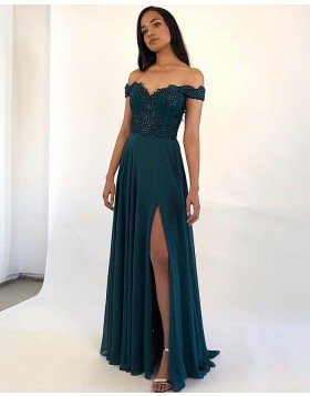 Off the Shoulder Beading Bodice Teal Satin Prom Dress PM1864
