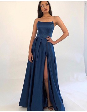 Simple Strapless Blue Pleated Slit Satin Prom Dress with Pockets PM1865