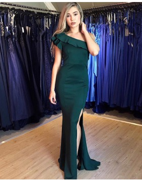 Simple One Shoulder Green Satin Prom Dress with Side Slit PM1867