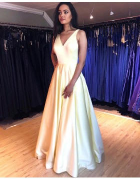 V-neck Light Yellow Simple Pleated Prom Dress with Pockets PM1868