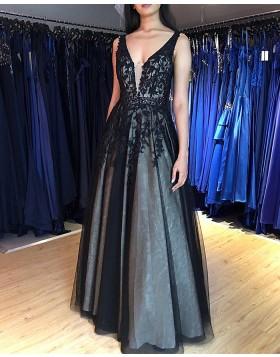 V-neck Lace Appliqued Black Prom Dress PM1869