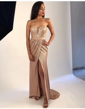 Sweetheart Gold Sequin Ruched Prom Dress with Side Slit PM1872