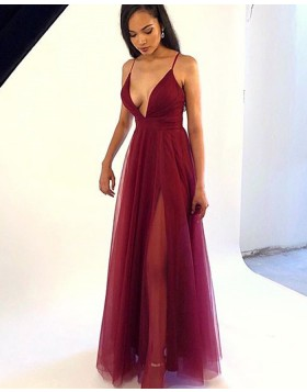 Spaghetti Straps Burgundy Simple Tulle Prom Dress with Side Slit PM1873