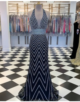 Halter Wave Sequin Style Navy Blue Mermaid Prom Dress PM1875