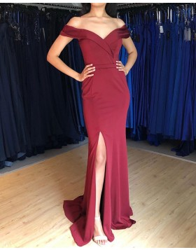 Simple Off the Shoulder Burgundy Mermaid Prom Dress with Side Slit PM1879