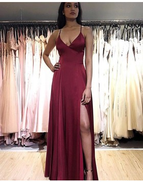 Simple Spaghetti Straps Burgundy Satin Prom Dress with Side Slit PM1882