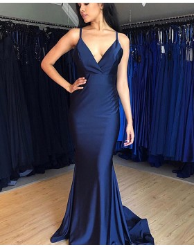 Simple Spaghetti Straps Navy Blue Satin Prom Dress PM1883
