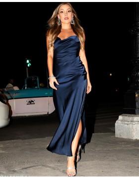 Spaghetti Straps Navy Blue Satin Formal Dress with Side Slit PM1885