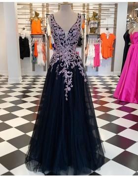 V-neck Purple & Black Lace Appliqued Prom Dress PM1886