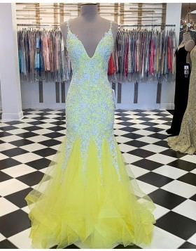 V-neck Beading Appliqued Yellow Mermaid Ruffled Prom Dress PM1887